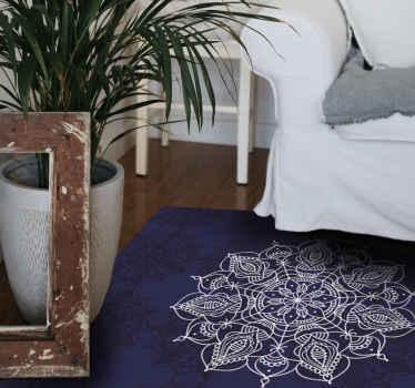 Una alfombra vinilo mandala de inspiración oriental con patrón de loto para el hogar y otros espacios. Precioso para disfrutar de una decoración zen