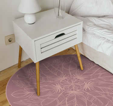 Alfombra vinilo mandala con estampado de plumas que puedes colocar cómodamente en cualquier lugar del suelo. Diseño de mandal rosa