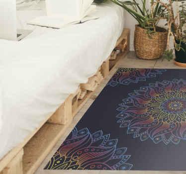 あなたの家のスペースのための鮮やかな色の曼荼羅ビニール敷物。リビングルーム、ベッドルーム、ダイニング、オフィスなど、必要なサイズでご利用いただけます。