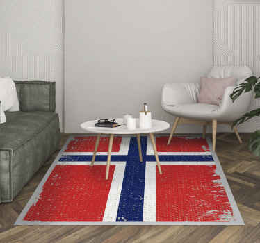 Norway flag ethnic vinyl rug for people who love to their flag country design. This carpet is original, durable and easy to maintain.