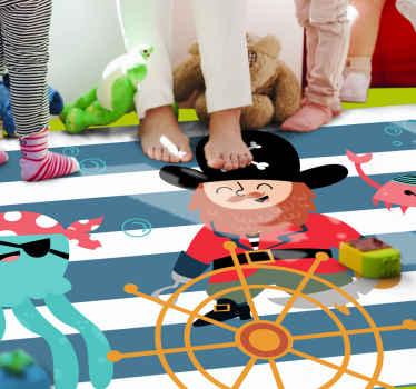 Ai vostri figli piacciono i pirati? Ora hai la possibilità di decorare la tua casa con questa camera da letto con pavimento in laminato a tema pirata.