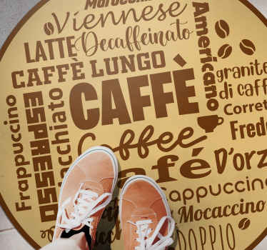 Coffee vinyl rug which features the word coffee in lots of different languages in a cool, mind-map pattern. Sign up for 10% off.