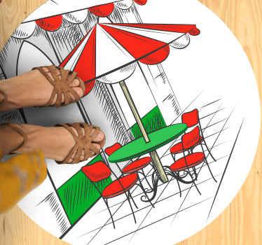 İtalyan bayrağının tonlarında kırmızı, yeşil ve beyaz renklerde klasik bir İtalyan kahve barının görüntüsüne sahip kahve vinil halı!