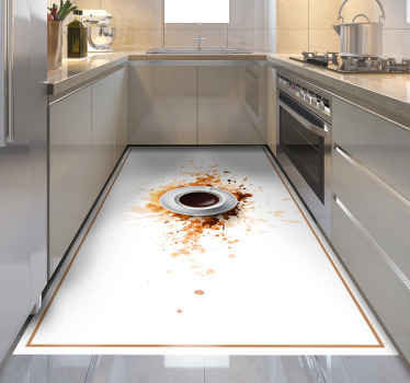 Vinyl coffee rug which features an image of a cup filled with coffee exploding on to a white surface. +10,000 satisfied customers.