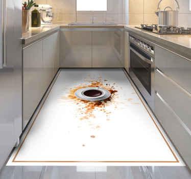 乙烯基咖啡地毯,带有一个杯子的图像,里面充满了爆炸在白色表面上的咖啡。 +10,000名满意的客户。