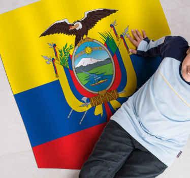 Fantástica alfombra vinilo rayas con la bandera de Ecuador en amarillo, azul y rojo y el escudo de este fantástico país ¡Envío exprés a domicilio!