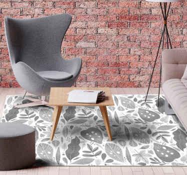 Procurez-vous ce superbe tapis à plantes grises tropicales aujourd'hui et apportez la nature à votre maison! Facilement lavable à l'eau et au savon.