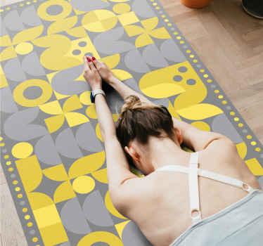 Decorate your home with our high quality vinyl carpet with beautiful abstract yellow and gray pattern design. The carpet is customizable in any size.