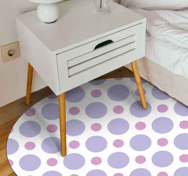 Polka dot vinyl rug which  features a lovely pattern of polka dots in various shades of purple. High quality materials used.
