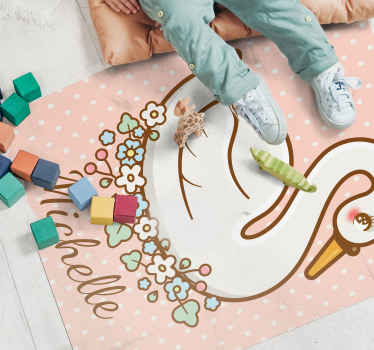 Looking for that cute and friendly looking carpet for a kids' bedroom?. Our pink princess polka dot personalized mat got you covered.