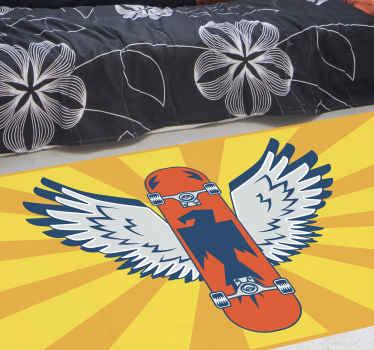 Alfombra vinílica habitación juvenil de ilustración de un skate naranja con alas y fondo amarillo, ideal para los amates del skate ¡Envío gratuito!