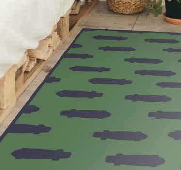 Alfombra vinílica habitación juvenil con patrón de skates de color negro sobre fondo verdeo. Perfecto para el cuarto de tu hijo ¡Envío gratuito!