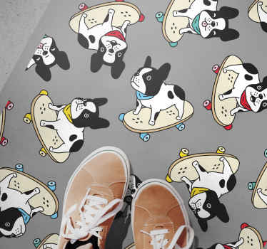 Dog vinyl rug which features a hilarious pattern of bulldogs on skateboards. Extremely long-lasting material. Custom made.