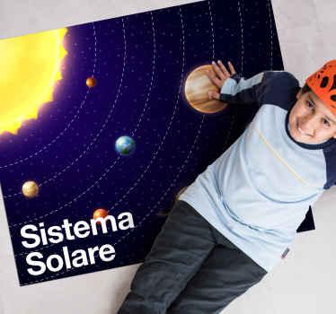 Un fantastico tappetino in vinile con sistema solare per bambini. Tappeto in vinile da pavimento è adatto per la stanza e la sala giochi dei bambini.