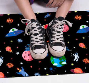 Hermosa alfombra vinilo estrellas para habitación infantil. Diseño con planetas, ovnis y estrellas con patrones coloridos ¡Envío exprés!
