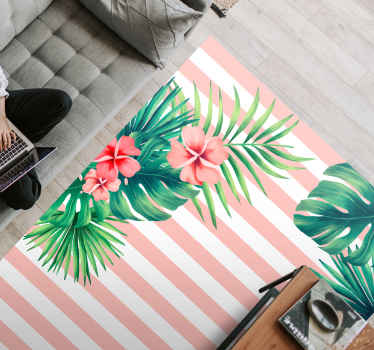 Flower rug with of vertical pink stripes with white background and leaves and flowers, ideal to fill your bedroom with a natural and harmony touch.
