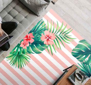 Tapis de fleurs à rayures verticales roses sur fond blanc et feuilles et fleurs, idéal pour remplir votre chambre d'une touche naturelle.