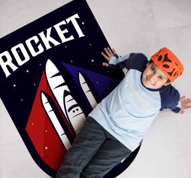 Beautiful vinyl carpet perfect for kids room. The carpet host the design of a space rocket with an inscribed text 'Rocket'.