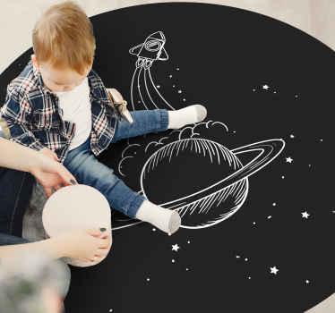 Fusée avec tapis étoiles, idéal pour la chambre d'enfants et l'espace de jeux pour bébé. Si votre enfant est fasciné par les éléments spatiaux