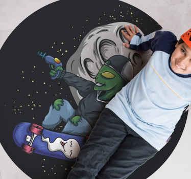 Tapis de sticker ado de patinage extraterrestre sur la lune pour chambre d'enfants et d'adolescents. Fabriqué avec du sticker de haute qualité