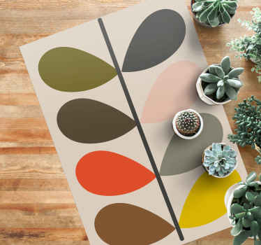 Lovely anti-slip modern vinyl carpet perfect for just any space in a house. It design illustrates an Orla Kiely  pattern design.