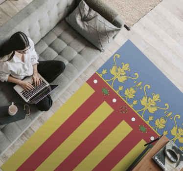 ¡Demuestra tu amor por tu origen con esta fantástica alfombra vinilo rayas con la bandera de Valencia! Bandera de Valencia en colores tradicionales