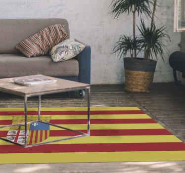 Preciosa alfombra vinilo rayas con diseño de bandera que representa la bandera de Aragón. Perfecto decorar cualquier estancia de tu hogar