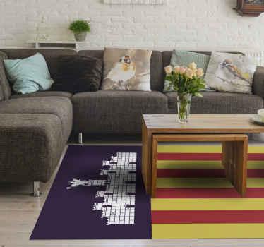Una alfombra vinilo rayas con diseño que representa la bandera de una comunidad autónoma de Mallorca. Original y fácil de mantener.