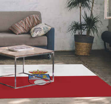 Alfombra vinilo blanca y roja bandera de Cantabria para que decores tu casa o negocio y muestres tu orgullo cántabro ¡Envío exprés a domicilio!