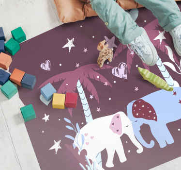 Kids vinyl rug which features a cute image of two elephants touching trunks, surrounded by palm trees and stars. High quality.
