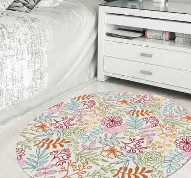 Tapis de sol fleuri multicolore pouvant être décoré sur la chambre des enfants. Il convient également à toute autre pièce d'une maison.