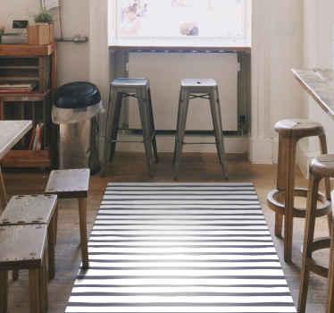 Tappeto nordico in vinile che presenta un motivo a strisce grigie su sfondo bianco. Sconti disponibili. Materiali di alta qualità.