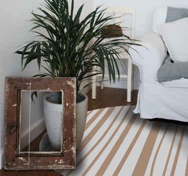 Tappeto in vinile a righe che presenta un motivo a strisce marrone chiaro su sfondo bianco. Disponibile in varie misure. Alta qualità.
