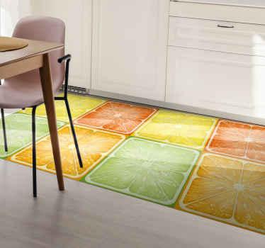 ¡Pida esta alfombra vinilo cocina de tonos cítricos ahora y sorpréndase con su diseño fresco de cítricos con lima, limón, naranja y pomelos!