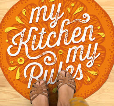 """Buy this orange kitchen vinyl rug with the sentence """"My kitchen my rules"""" in a cercle form to decorate your home as you like. Home delivery!"""