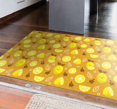 This smiling lemons kids vinyl rug will brighten up any room! It is made of anti-slip material which is perfect for kids. Easy to clean!