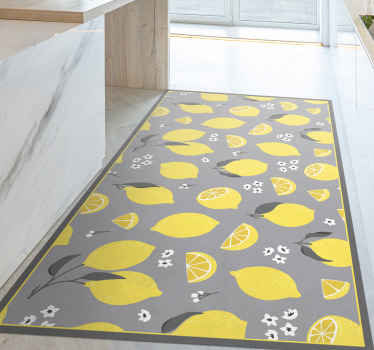 This yellow lemons vinyl rug is subtle yet bright and will lighten up any room. Choose from different sizes to fit your desires. Easy to clean!