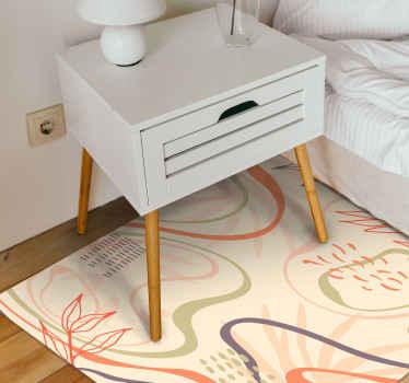 Una alfombra de vinilo para habitación con motivos de hojas de estilo nórdico. Ideal para dar un toque atractivo a su hogar ¡Envío exprés!
