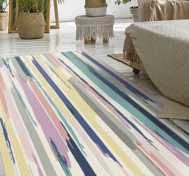 Order this unique striped vinyl rug design today and have it at your home in just a few days! Easy to wash and clean using water and soap. Buy it now!
