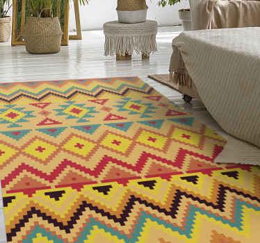 Una increíble alfombra vinilo rayas con patrones de rayas de colores. El diseño es original, duradero, impermeable y fácil de mantener.