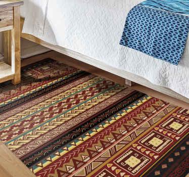 Vinylový podlahový koberec s designovým vzorem aztéckých pruhů. Vneste do svého prostoru barevné domorodé umění pomocí tohoto úžasného podlahového koberce.