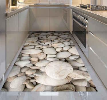 Esta elegante alfombra vinílica cocina piedras blancas será perfecta para tu cocina o baño. ¡Es material antideslizante y fácil de limpiar!