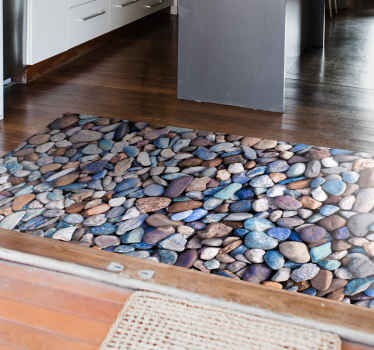Alfombra vinilo cocina que presenta un impresionante patrón de piedras de colores. Materiales de alta calidad ¡Envío exprés a domicilio!