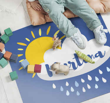 Personalised vinyl rug which features an adorable image of a cloud with rain coming out with the sun behind it and your child's name on top.
