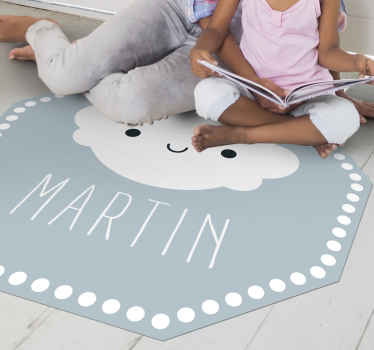 Cloud vinyl rug which features an adorable picture of a cloud smiling with your child's name underneath. High quality materials.