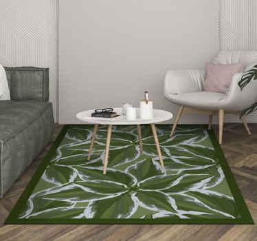 Alfombra vinilo nórdica con hojas de plantas grandes con un contorno blanco y un borde verde oscuro ¡Envío exprés a domicilio!