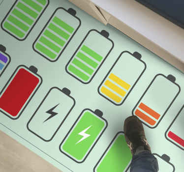 Vinyl carpet with the illustration of many batteries full of energy, perfect to decorate the environment with an energetic and cheerful atmosphere.