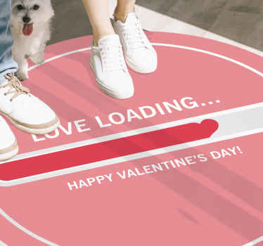 "Pink vinyl flooring with the illustration of a loading bar with the word ""love loading"" and the phrase ""Happy Valentines Day"" perfect for you."