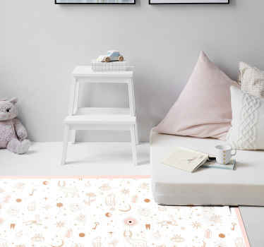 Zvířecí vinylový koberec se vzorem tvarů, jako jsou jeleni, hvězdy, měsíce, klíče, diamanty a mnoho dalších! Vyrobeno na zakázku.