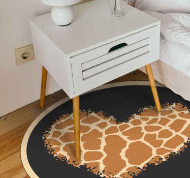 Feel yourself on the savanna with this very chic Giraffe Print heart animal print carpet.